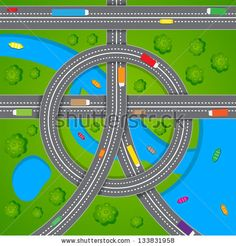easy to edit vector illustration of aerial view of traffic - stock vector