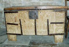 Truhe 14. Jahrhundert, St Andrew's church, Hacconby, Lincolnshire, UK
