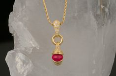 18k Yellow Gold Ruby Cabochon Necklace with Diamond accents. #Ruby