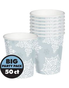 Shining holiday drinks! Shining Season Cups feature winter classic snowflake print. Good for hot and cold drinks. Big value package includes 50 paper cups each holding 9oz of your favorite beverage.