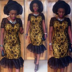 Step up your Aso-Ebi Style Game: Unleashing Sexy, Beautiful, & Flattering Aso Ebi Styles That Will Leave you Speechless - Wedding Digest Naija African Lace Styles, African Lace Dresses, African Dresses For Women, African Attire, African Wear, African Fashion Dresses, African Women, Kente Styles, Aso Ebi Styles