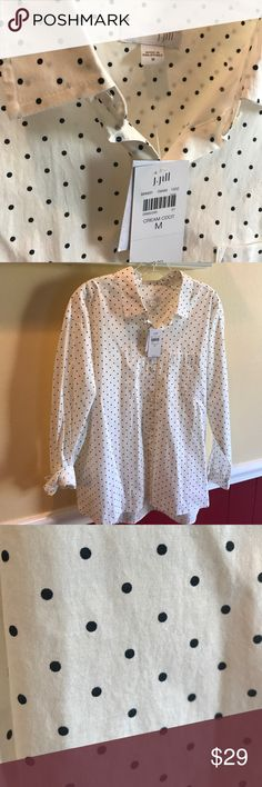 Jjill high low cream and navy tunic blouse. Navy and cream Polk a dot tunic blouse. . Medium. With tags. Never worn. jjill Tops Blouses