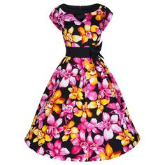 Have a taste of the Orient in this gorgeous vibrant dress with wide flared skirt, cute cut out neckline and attractive bow detail to waist. Vintage Inspired Fashion, Vintage Inspired Dresses, Dress Vintage, Cutout Dress, Embellished Dress, Tent Dress, Swing Dress, Pink Skater Skirt, Skater Skirts