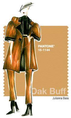 Julianna Bass in Pantone Oak Buff - FALL 2015 PANTONE's FashionColorReport