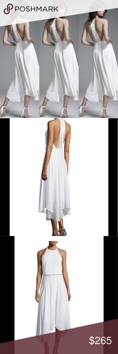 """Halston Heritage Multistrap Openback Highlow Dress Halston Heritage midi dress. Approx. length: 41""""L from shoulder to hem, 47""""L down center back. Round neckline; T-back with shred-effect detail and hook closure. Sleeveless; cut-in shoulders. Blouson bodice. A-line skirt. Handkerchief hem. Hidden back zip. Polyester/spandex. Lining, polyester. Dry clean. Imported. Halston Heritage Dresses Midi"""