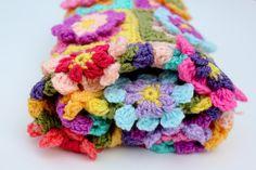 Crochet flower blanket baby girl blanket car seat by AnaisandAiyla