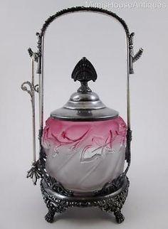 Northwood-ROYAL-IVY-frosted-Rubina-Jar-Van-Bergh-Frame-antique-PICKLE-CASTOR
