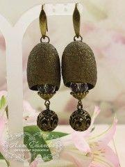 Серьги из коконов шелкопряда бронзовые