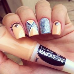 Orange and blue glitter nails. Geometric nail art. Nail design. Esmalte Brunza Marquenize. Polish. Polishes. by @belacacineli