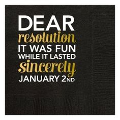 All That Glitters New Years Party Theme >> Black Dear Resolution Beverage Napkins