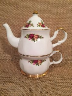 Royal Albert Old Country Roses China Tea For One Tea Cup Pot  #RoyalAlbert #RoyalAlbert
