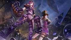 Download Vi and Caitlyn Wallpaper Girl Art 1920x1200