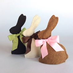 3 Chocolate SCENTED Felt Easter Bunnies with Satin Bows -- felt food, Easter basket, hand stitched, children's pretend play, tea set or gift on Etsy, $28.00