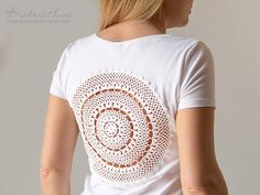 White t-shirt with upcycled vintage crochet doily lacy back