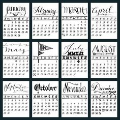 2013 Letterpress Calendar Mini Calligraphy by KisforCalligraphy, $24.00