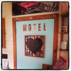 Vegas notice board and motel lettering - from wallpaper cut offs