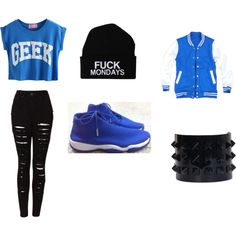 """Blue and Black"" by nneuphtalie on Polyvore"