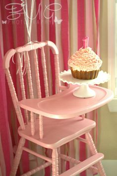 Baby girl first birthday Vintage High Chair Jenny Lind High Chair  #Cakesmash