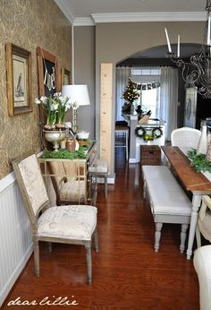 1) Focus wall  2) Chair rail to camoflauge vent  3) kitchen island  4)foyer decor