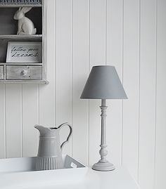 Shabby chic lamps grey and white table lamp for living room or grey bedside table lamp aloadofball