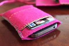 Cute little phone case which will also hold a debit/credit card. It would be easy to add a loop for keys...tutorial here.