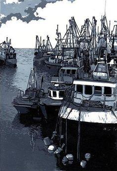 Kilmore Quay - lino print 2007 - Annamie Pretorius, Eire, born South Africa