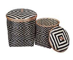 2 Paniers CARRÉ, bois de bambou - noir et blanc Home Living, Outdoor Furniture, Outdoor Decor, Kos, Ottoman, Home Decor, Bamboo, Baskets, White People