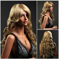 fancy long curly yellow blonde wigs for women's hair wig Blonde Curly Wig, Curly Wigs, Hair Wigs, Big Waves Hair, Wave Hair, Wig Hairstyles, Straight Hairstyles, Kawaii Wigs, Books