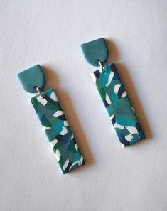 Long turquoise statement earrings Funky colorful earrings