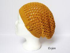 crochet ♥ Leichte Häkelmütze / Beanie in Curry ♥ von Evjan auf DaWanda.com