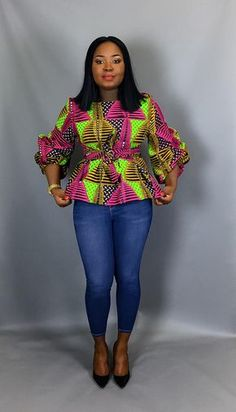 African print fabric used for blouses,dashiki tops, that can be Rocked with Jeans Trouser for AFRICAN WOMEN - WearitAfrica African Print Clothing, African Print Fashion, Africa Fashion, Ankara Fashion, Ethnic Fashion, African Wear Dresses, African Attire, African Tops For Women, African Blouses