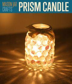 Mason Jar Crafts | Prism Candle Light | So cute and so easy! #DIYReady