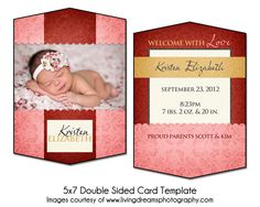 RUBY WELCOME - 5x7 Double Sided Baby Birth Announcement. $8.00, via Etsy.