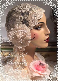 ROARING 20s FLAPPER WEDDING IVORY LACE PEARLS ROSE GATSBY BRIDAL CLOCHE HAT 52e2c27842cf
