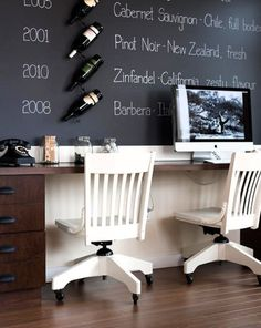 awesome chalkboard wall wine notes.
