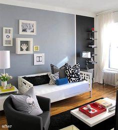 Paleta da Sala: cinza, preto e as cores