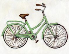 Bright Green Bike  5x7 Print  Bicycle by heatherfuture on Etsy, $12.00