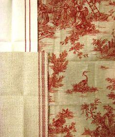 Bergerette Toile & two linen stripes from Kravet's Vie de Campagne collection