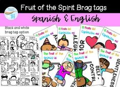 Fruit of the Spirit Brag tags - Spanish & English Brag Tags, Children Ministry, Spanish English, Fruit Of The Spirit, Colored Paper, Hole Punch, Sunday School, Card Stock, Bible