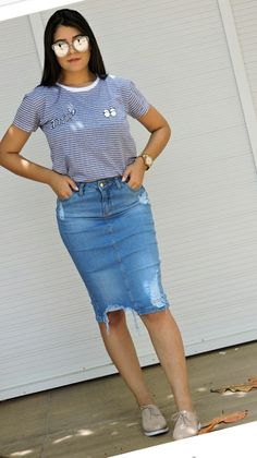 How To Wear Denim Skirt Outfits Jean Shirts 54 Ideas Cute Modest Outfits, Casual Summer Dresses, Casual Wear, Casual Outfits, Denim Skirt Outfits, Jean Outfits, Modest Fashion, Fashion Outfits, Fashion News