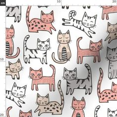 Cat Fabric - Cats With Black white Stripes Peach Grey By Caja Design - Handdrawn Cotton Fabric By The Metre by Spoonflower Cotton Twill Fabric, Fleece Fabric, Black White Stripes, Black And White, Cat Doodle, Cat Fabric, Custom Fabric, Spoonflower, Craft Projects