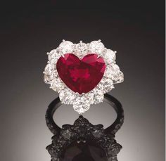 5.21 carats, Natural, Pigeon's Blood Red, Heart shaped Ruby Ring.