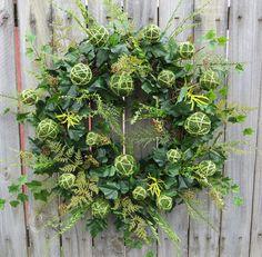 Spring Door Wreath  Wild Yarn Ball Wreath  Spring by HornsHandmade, $96.00
