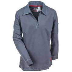 e190dc86a70f Bulwark Shirts  Women s Charcoal QT11 CH Flame Resistant Long Sleeve Polo  Shirt - Flame Resistant