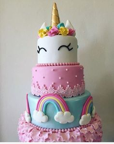 :D Ideas para Tu Fiesta: Unicornio. Cake and Cupcakes Kreative Desserts, Crazy Cakes, Unicorn Birthday Parties, Birthday Ideas, 8th Birthday, Rainbow Birthday, Cute Cakes, Cake Designs, Amazing Cakes