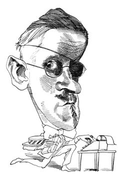 James Joyce by David Levine Manhattan, Guy Drawing, Drawing Style, Brooklyn, Caricature Drawing, James Joyce, Celebrity Caricatures, Writers And Poets, Scratchboard