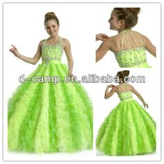 FG-078 Lime green puffy ball gown kids beauty pageant girl dresses $98~$168
