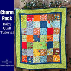 The Cottage Home: Charm Pack Baby Quilt Tutorial - Great Tutorial - I can picture it in lots of fun colors.