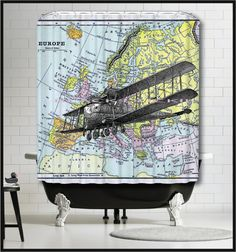 Superb Antique Airplane On Antique Europe Map Shower Curtain   Flying Airplane On  Antique Map Shower Curtain