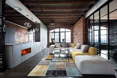 Living room in a loft in Kiev, Ukraine blends modern materials with the original brick and ceiling beams. [1800 × 1200] - Imgur